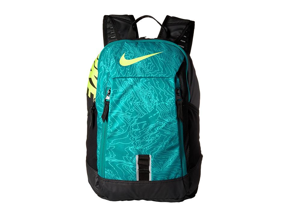 Nike - Young Athletes Alpha ADPT Rise Print Backpack (Rio Teal/Black/Volt) Backpack Bags