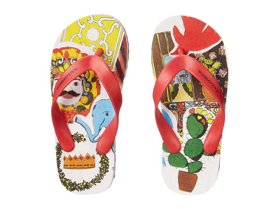 Dolce amp Gabbana Kids Animal Print Flip Flop Little Kid/Big Kid Cactus Boys Shoes