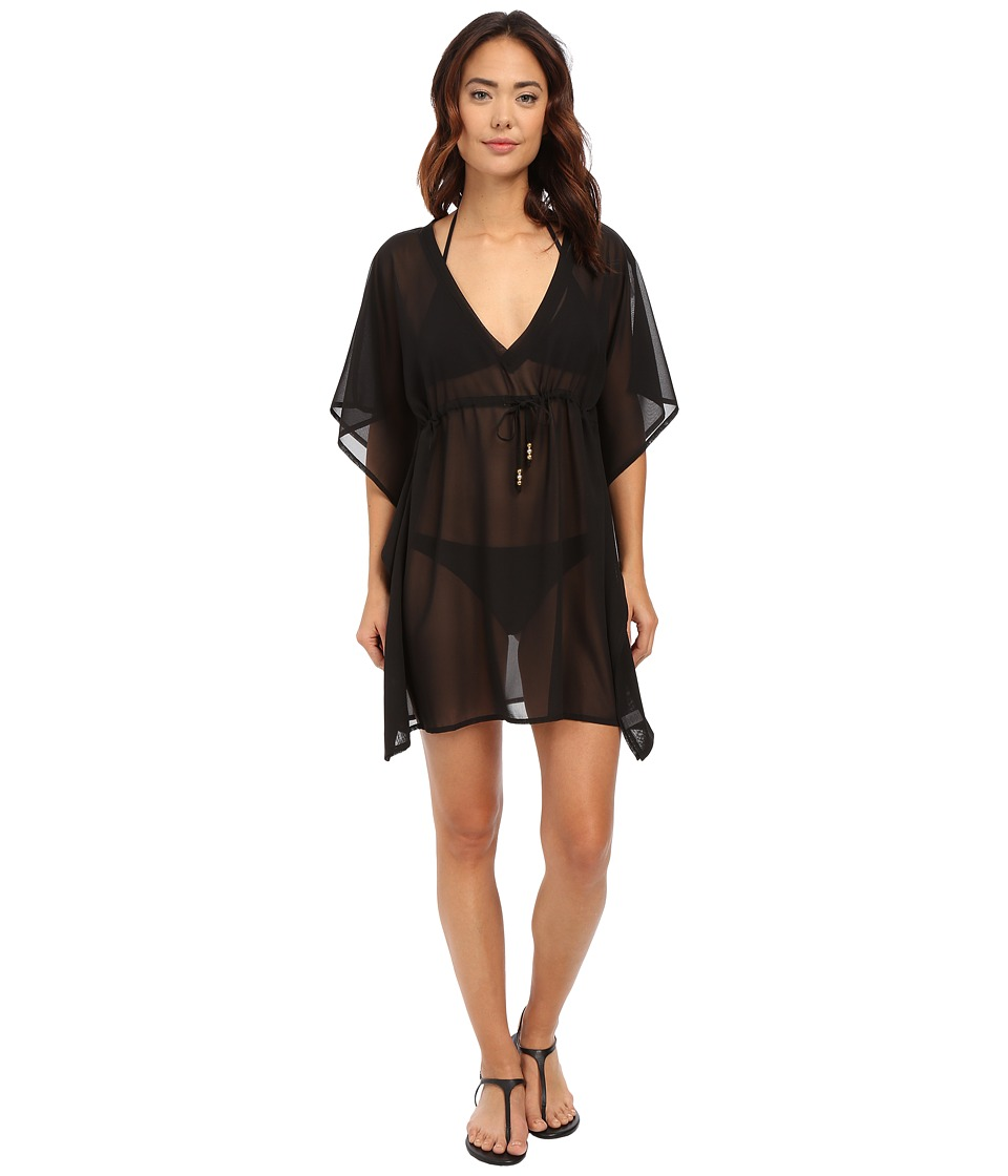 Echo Design Solid Silky Butterfly Cover Up Black Womens Swimwear