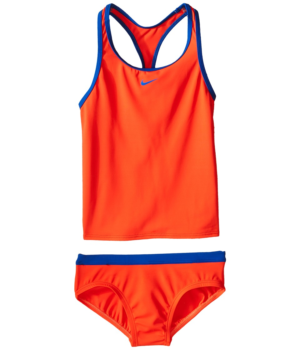 Nike Kids Solid Racerback Tankini (Big Kids) (Bright Crimson) Girl