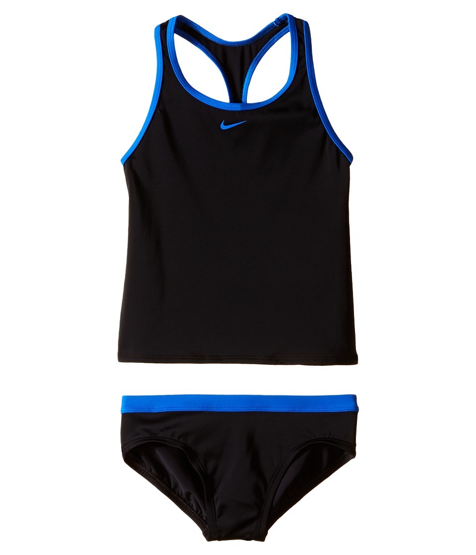 Nike Kids Solid Racerback Tankini (Big Kids) (Black) Girl
