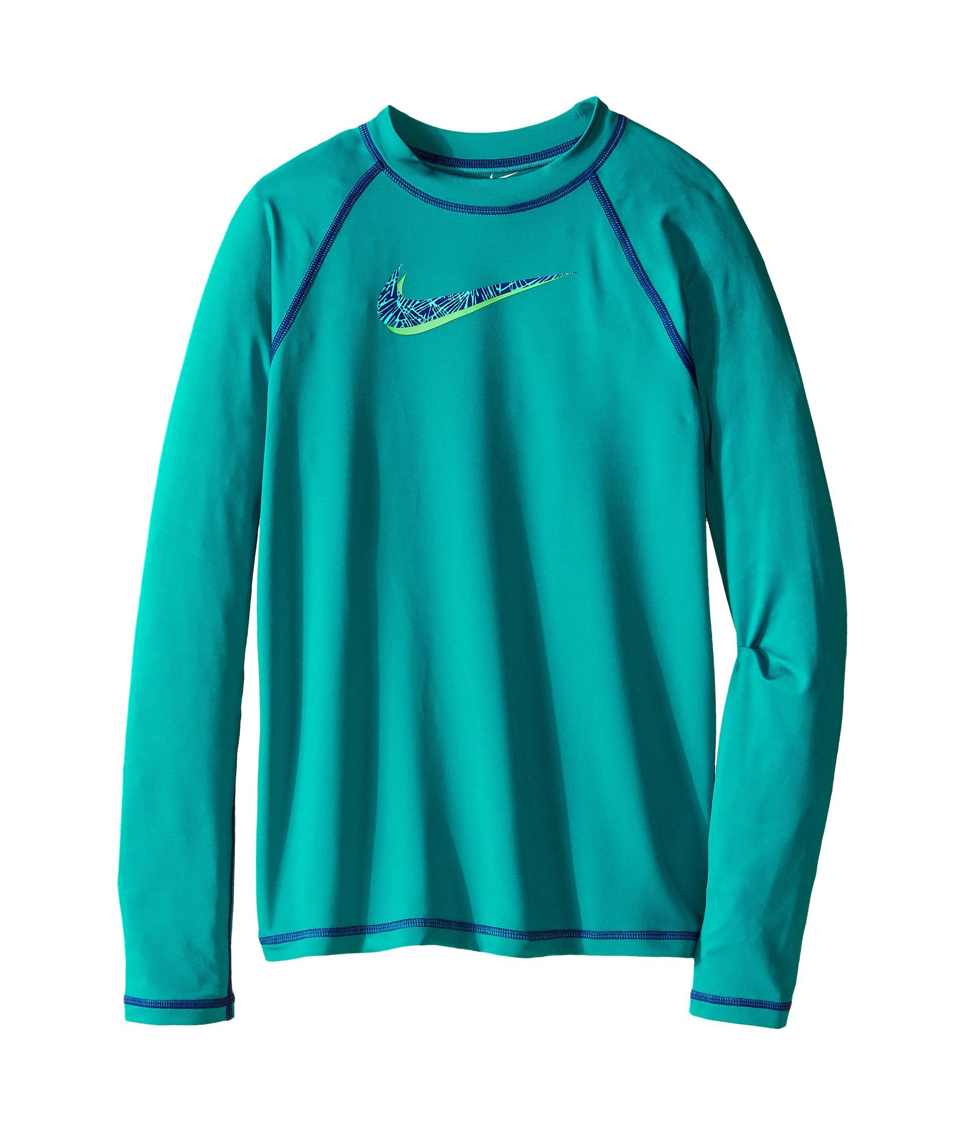 Nike kids hydro uv long sleeve swim shirt big kids for Uv shirts long sleeve