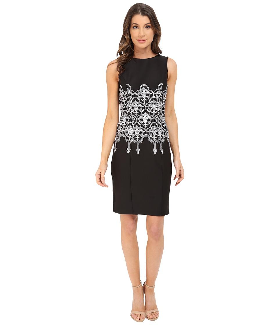 Adrianna Papell Embroidered Waist Sheath Dress Black/White Womens Dress