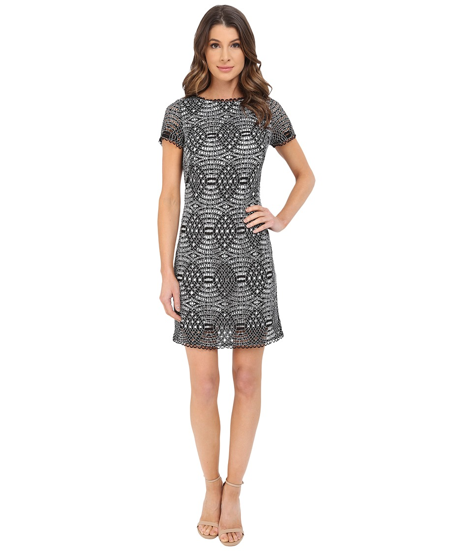 Adrianna Papell Short Sleeve Lace Shift Dress Black/Ivory Womens Dress