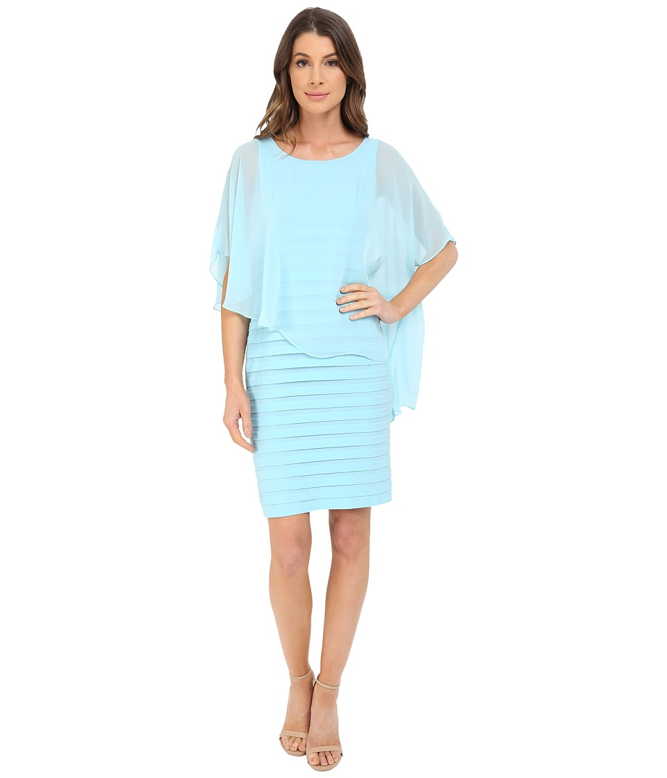 Adrianna Papell - Chiffon Drape Overlay With Banding (Sky) Womens Dress