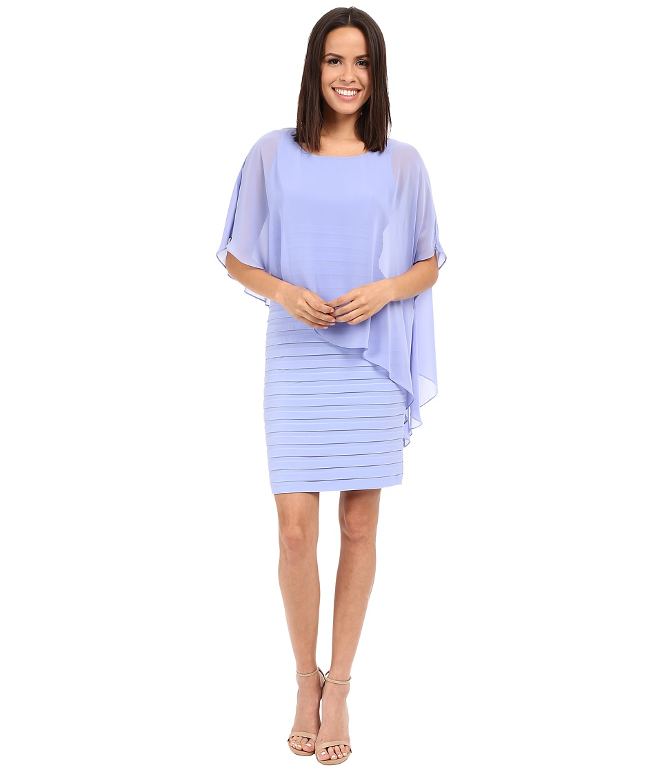 Adrianna Papell Chiffon Drape Overlay With Banding Wisteria Womens Dress