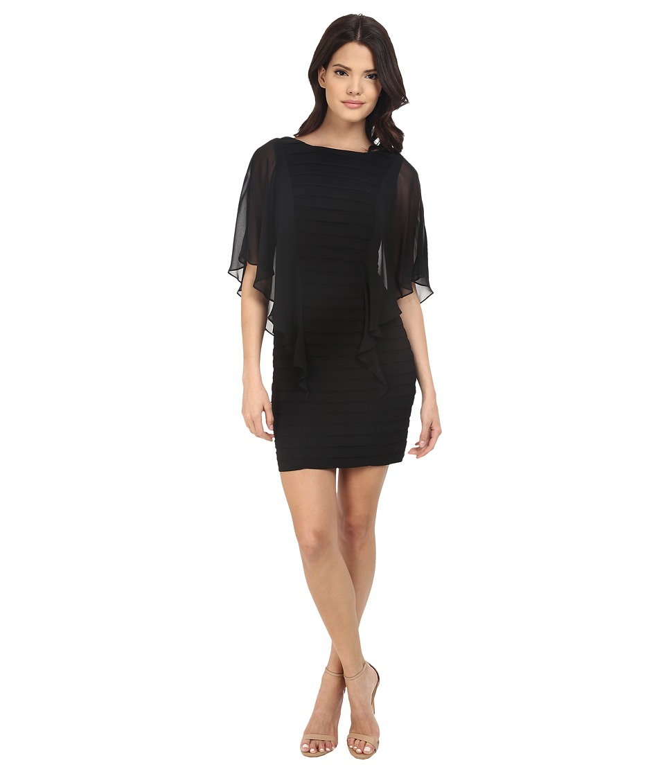 Adrianna Papell Banded Illusion Sleeve Flutter Dress Black Womens Dress