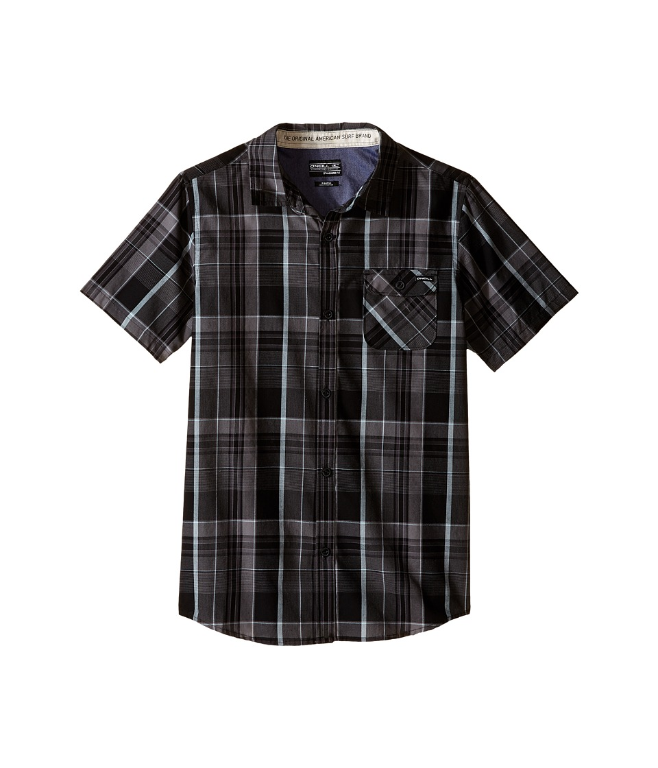 ONeill Kids Emporium Plaid Short Sleeve Woven Top Big Kids Black Boys Clothing