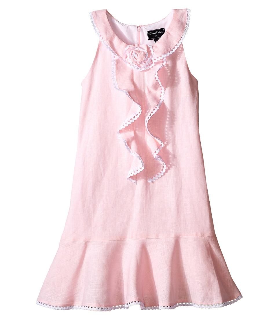 Oscar de la Renta Childrenswear - Linen Sleeveless Dress with Rose
