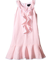 Oscar de la Renta Childrenswear - Linen Sleeveless Dress with Rose (Toddler/Little Kids/Big Kids)