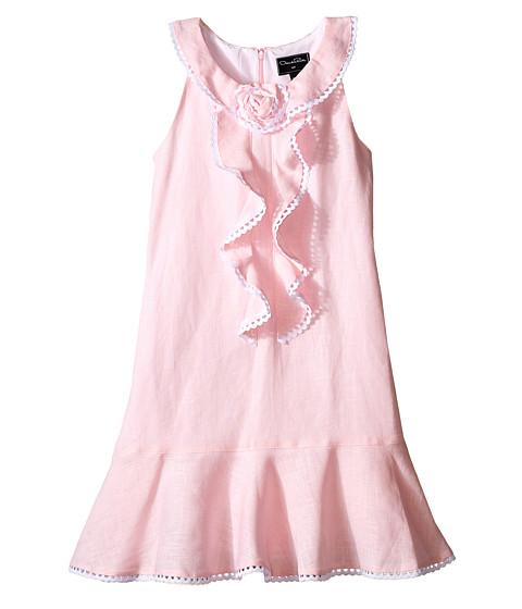 Oscar de la Renta Childrenswear Linen Sleeveless Dress with Rose (Toddler/Little Kids/Big Kids)