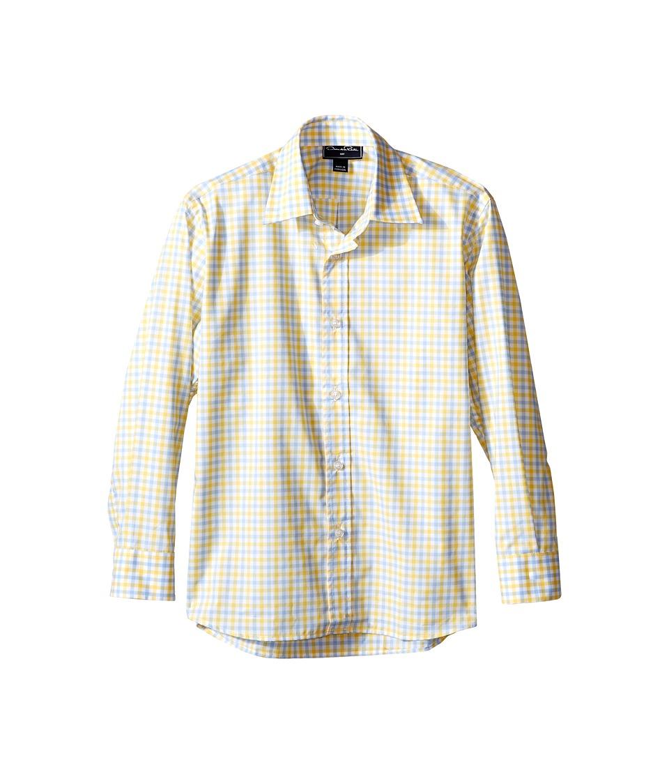 Oscar de la Renta Childrenswear Check Cotton Long Sleeve Dress Shirt Toddler/Little Kids/Big Kids Sky/Sunbeam Boys Long Sleeve Button Up