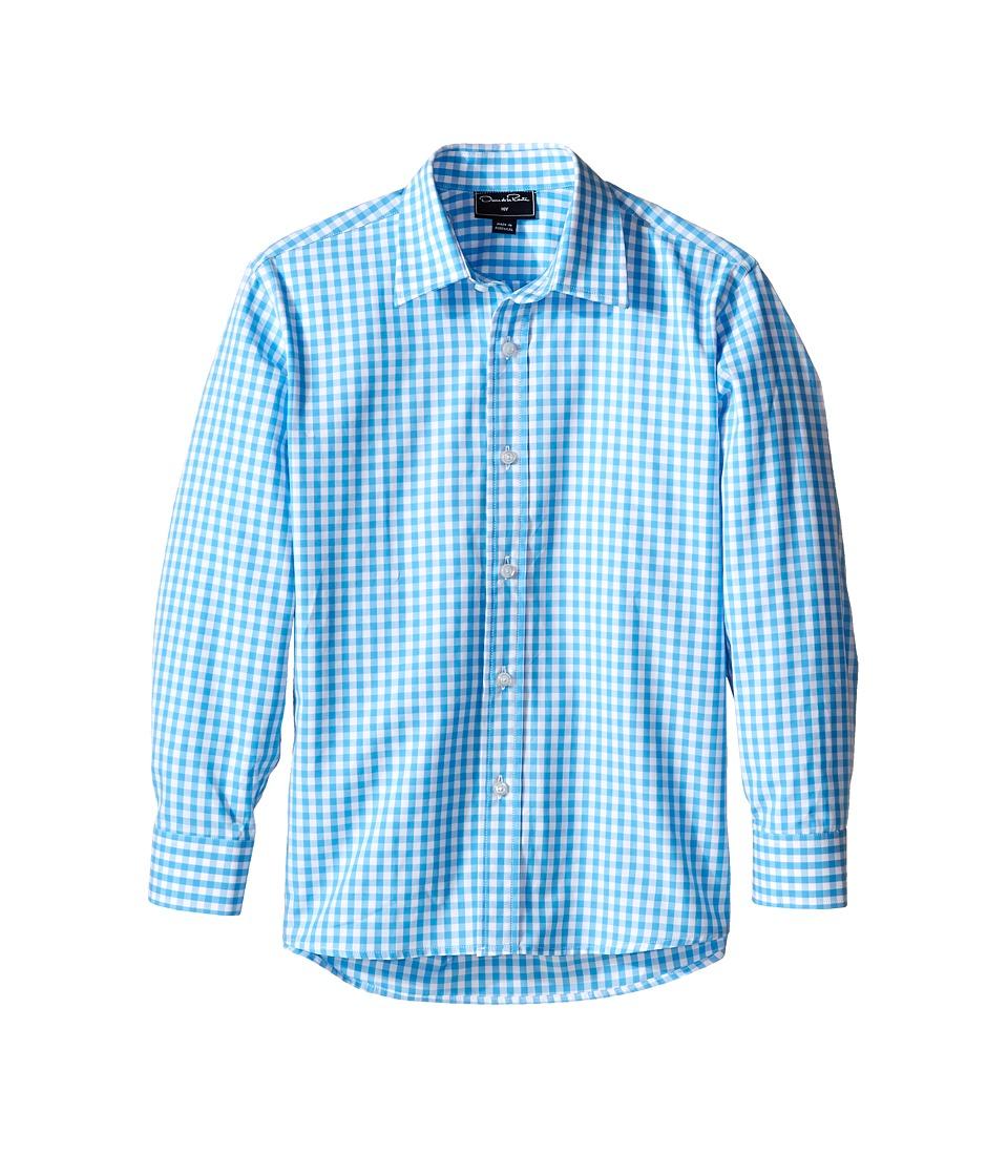 Oscar de la Renta Childrenswear Check Cotton Long Sleeve Dress Shirt Toddler/Little Kids/Big Kids White/Caribbean Boys Long Sleeve Button Up
