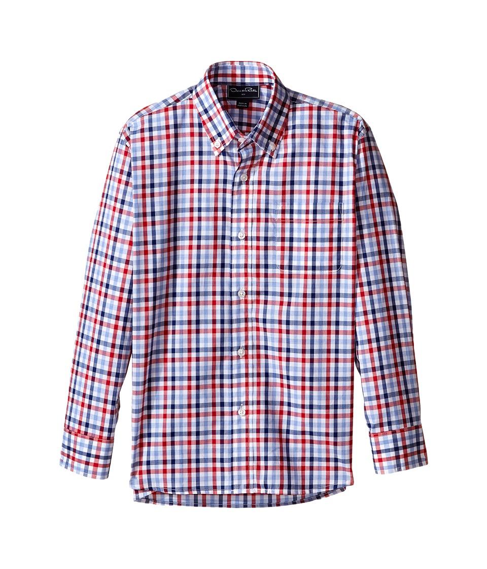 Oscar de la Renta Childrenswear Check Cotton Long Sleeve Dress Shirt Toddler/Little Kids/Big Kids Ruby/Navy Boys Long Sleeve Button Up