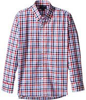 Oscar de la Renta Childrenswear - Check Cotton Long Sleeve Dress Shirt (Toddler/Little Kids/Big Kids)