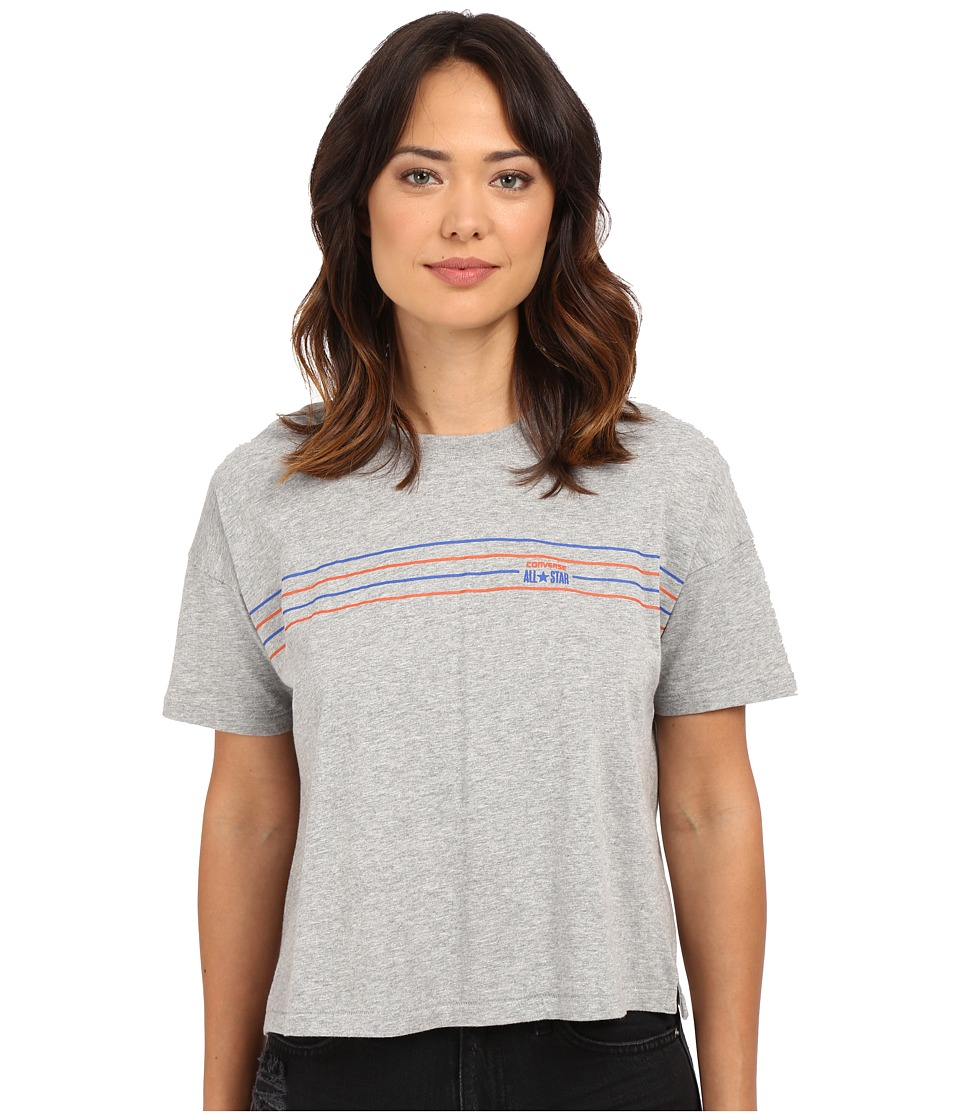 Converse - Famous 4 Chest Stripe V-Neck Tee (Vintage Grey Heather) Women