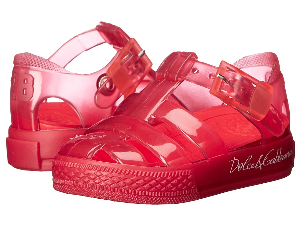 Dolce amp Gabbana Kids Beach Transparent Sandal Infant/Toddler/Little Kid Red Girls Shoes