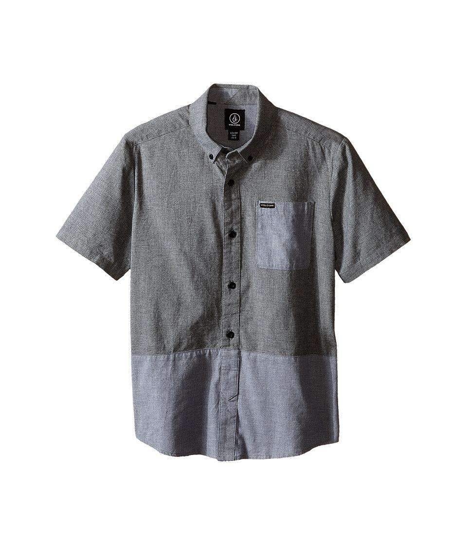 Volcom Kids Holstein Short Sleeve Shirt Big Kids Navy Boys Short Sleeve Button Up