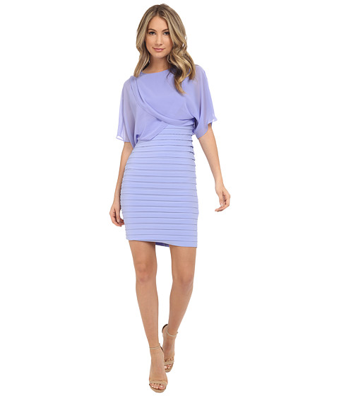 Adrianna Papell Draped Blouson with Banded Jersey Dress