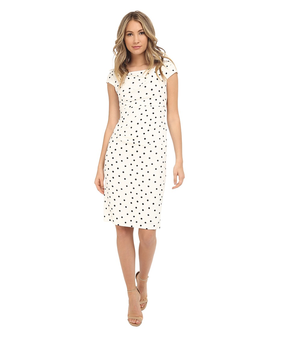 Adrianna Papell Cowl Neck Printed Sheath Dress Ivory/Black Womens Dress