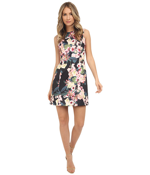 Adrianna Papell Floral Printed Scuba Flare Dress