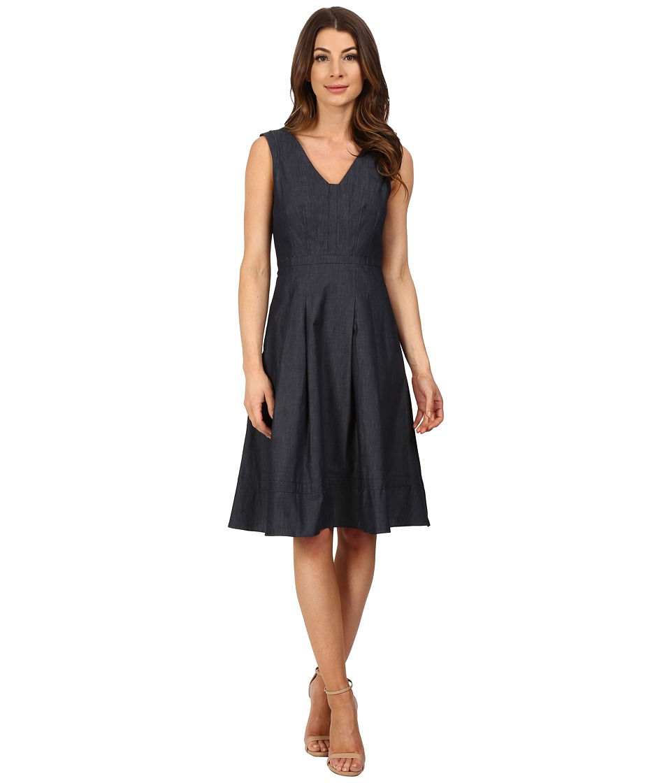 Adrianna Papell Fit Flare with Inset Chambray Blue Womens Dress