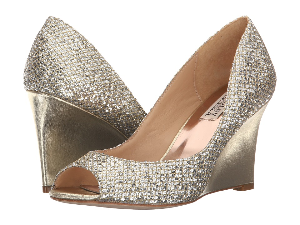 Badgley Mischka Awake Platino Glitter Womens Wedge Shoes