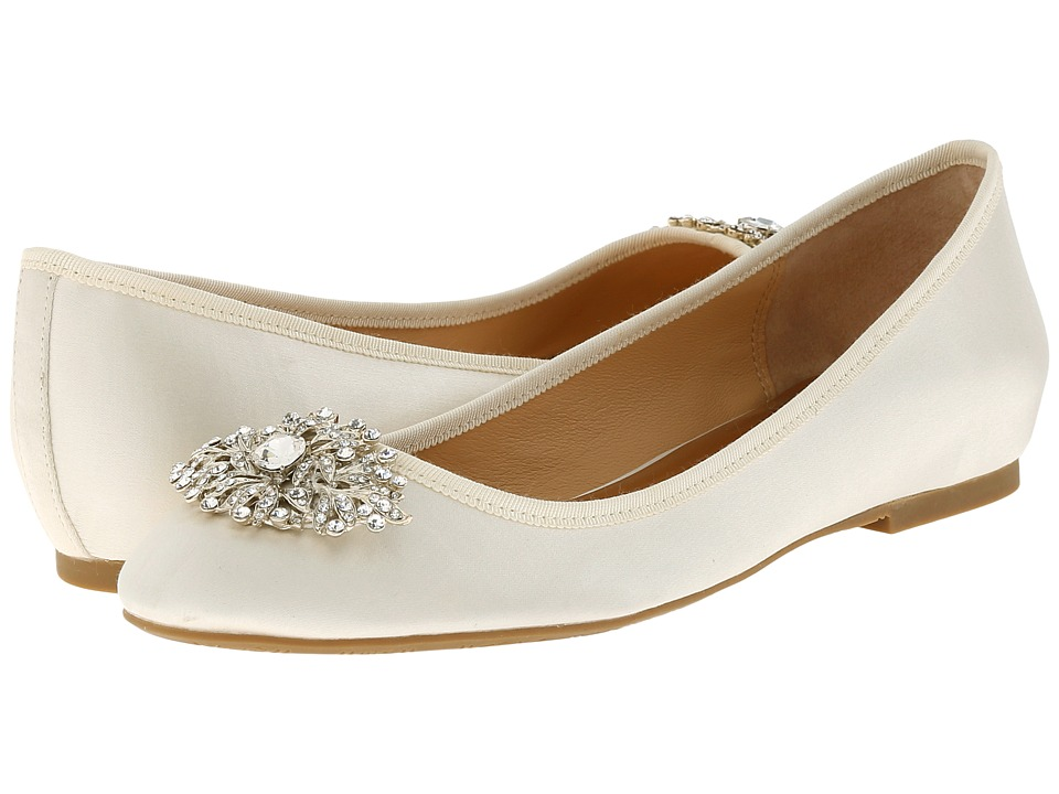 Image of Badgley Mischka - Abella (Ivory Satin) Women's Flat Shoes