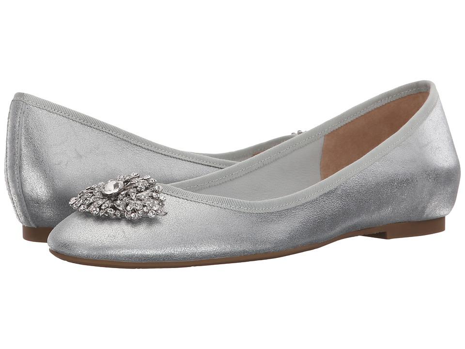 Badgley Mischka Abella II Silver Metallic Kid Suede Womens Flat Shoes