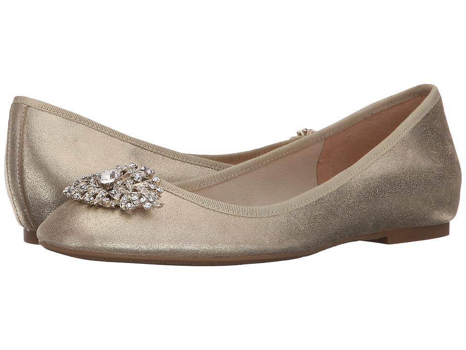 Badgley Mischka Abella II Platino Metallic Kid Suede Womens Flat Shoes