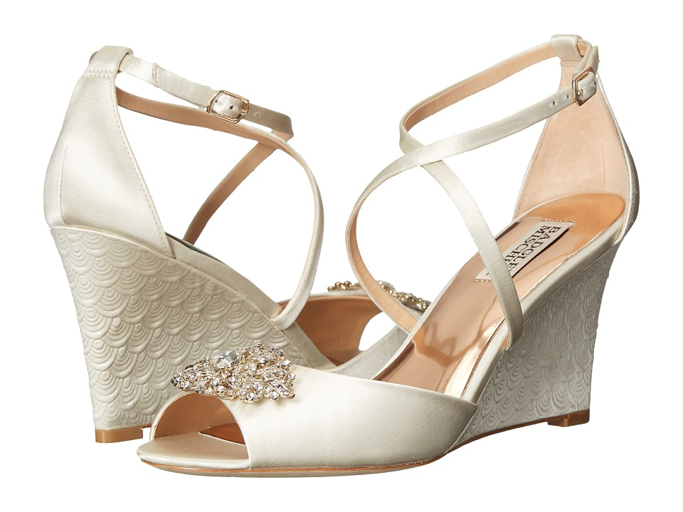 Image of Badgley Mischka - Abigail (Ivory Satin) Women's Wedge Shoes