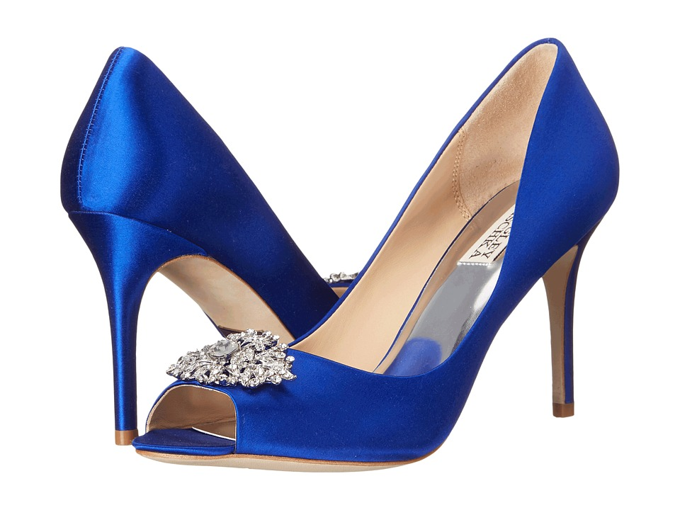 Badgley Mischka Accent Violet Satin High Heels
