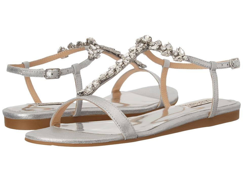 Badgley Mischka Amuse II Silver Metallic Kid Suede Womens Sandals