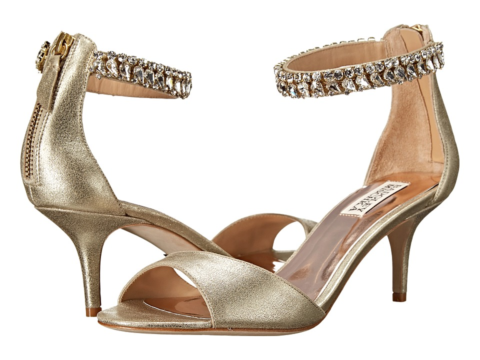 Badgley Mischka Angel II Platino Metallic Kid Suede Womens 1 2 inch heel Shoes