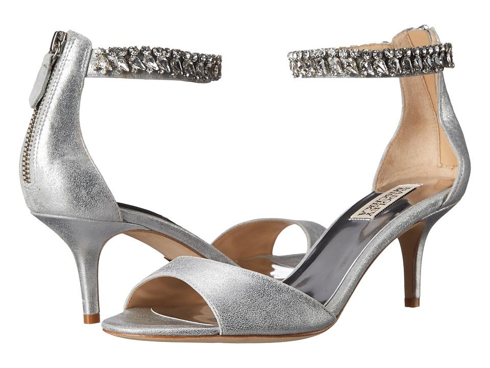 Badgley Mischka Angel II Silver Metallic Kid Suede Womens 1 2 inch heel Shoes