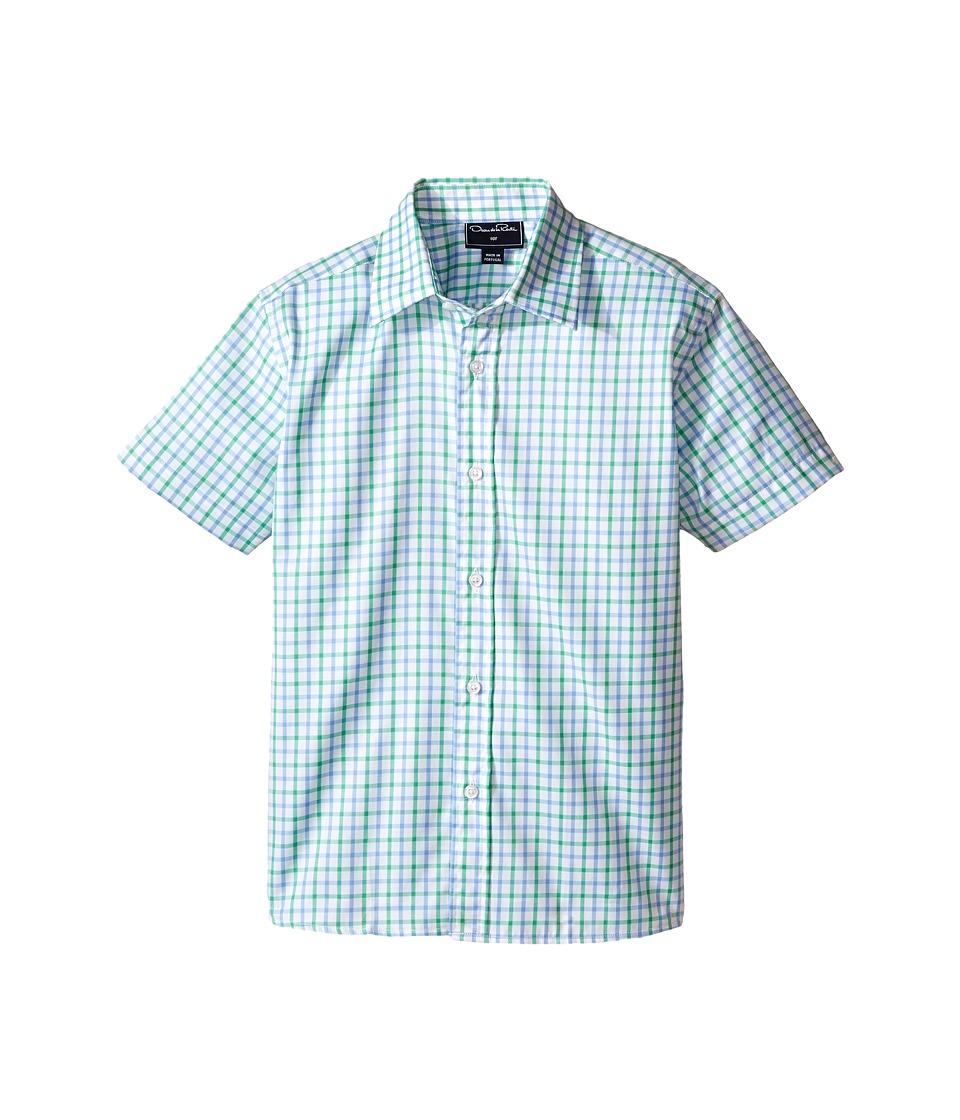 Oscar de la Renta Childrenswear Check Cotton Short Sleeve Woven Shirt Toddler/Little Kids/Big Kids Clover/Sky Boys Short Sleeve Button Up