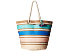 Roxy Sun Seeker Tote Bag (Tile Blue Zapopan Straw Stripe)