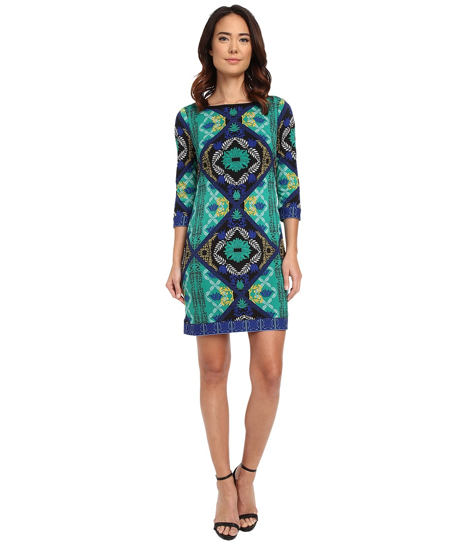 Laundry by Shelli Segal Lotus Blossom Double Border Matte Jersey T Body Dress Pepper Green Womens Dress