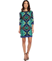 Laundry by Shelli Segal - Lotus Blossom Double Border' Matte Jersey T-Body Dress