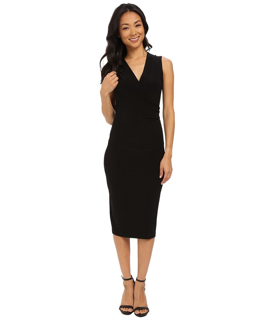 KAMALIKULTURE by Norma Kamali Sleeveless Wrap Dress To Knee Black Womens Dress