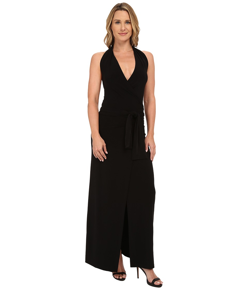 KAMALIKULTURE by Norma Kamali Halter Wrap Long Dress Black Womens Dress