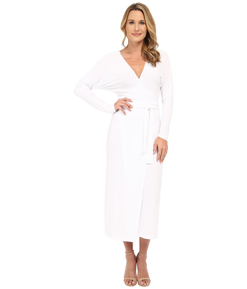KAMALIKULTURE by Norma Kamali Dolman Front Back Wrap Midcalf Dress White Womens Dress
