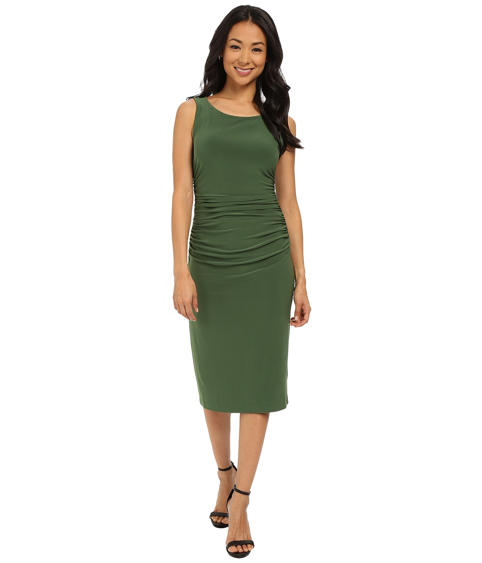 KAMALIKULTURE by Norma Kamali Shirred Waist Dress Below Knee Olive Womens Dress