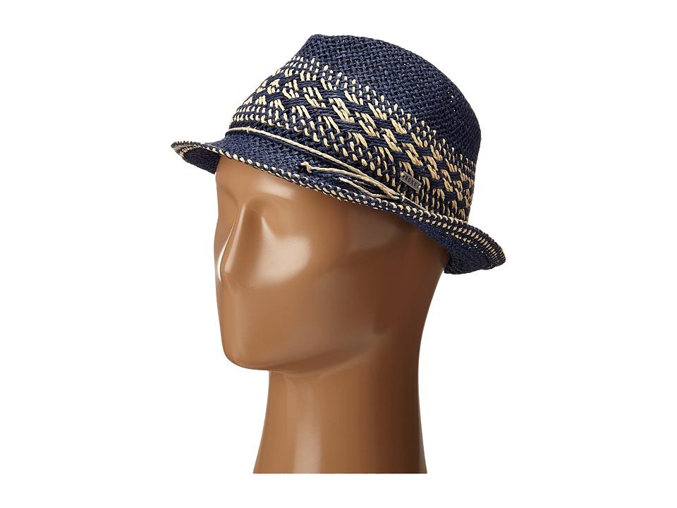 Roxy Big Swell Straw Fedora Hat Chambray Fedora Hats