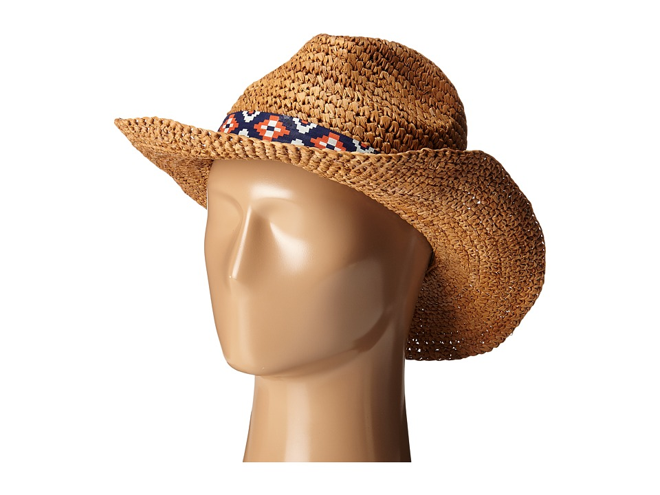 Roxy Cantina Straw Fedora Hat Natural Traditional Hats