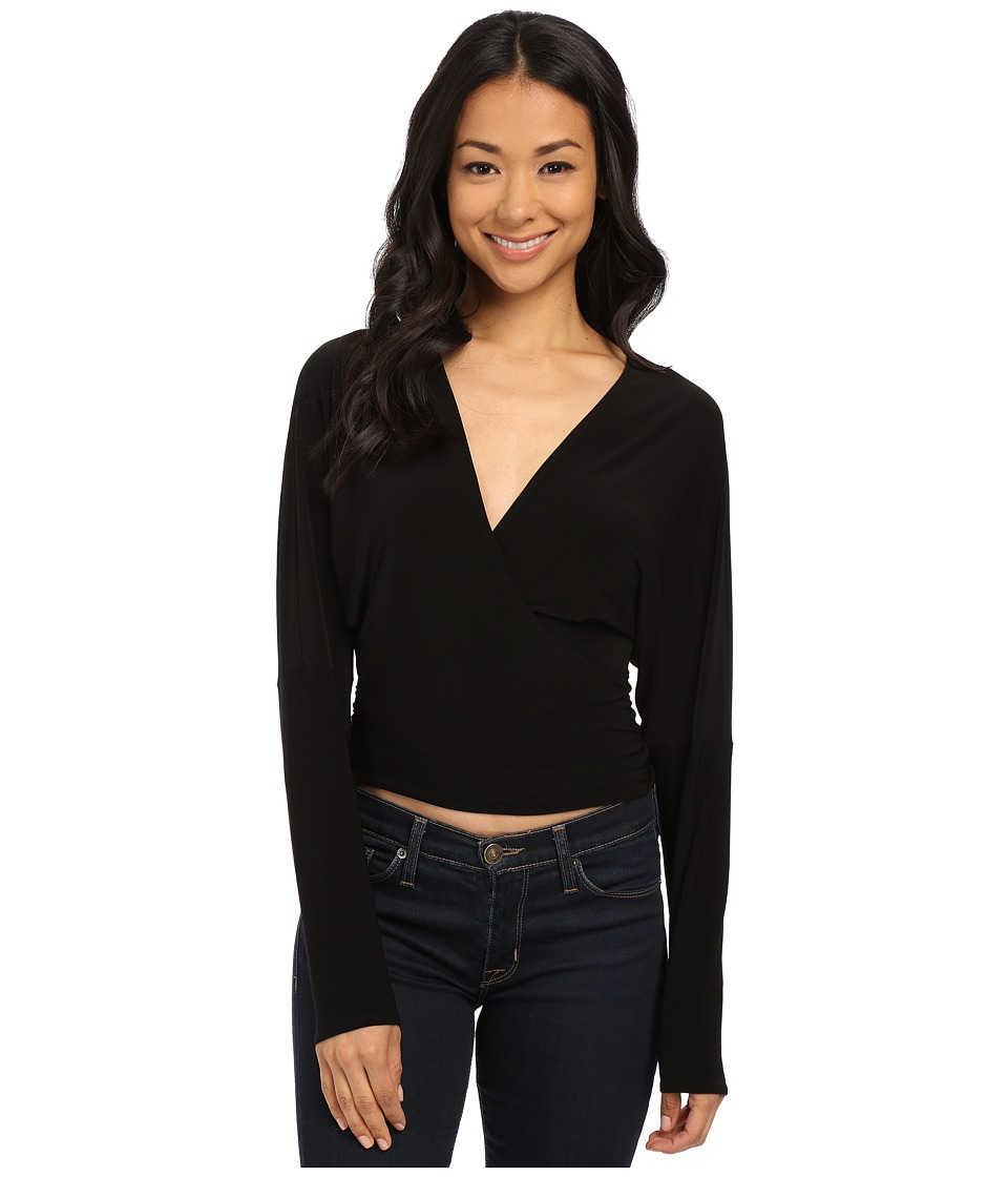 KAMALIKULTURE by Norma Kamali Dolman Wrap Top Black Womens Clothing