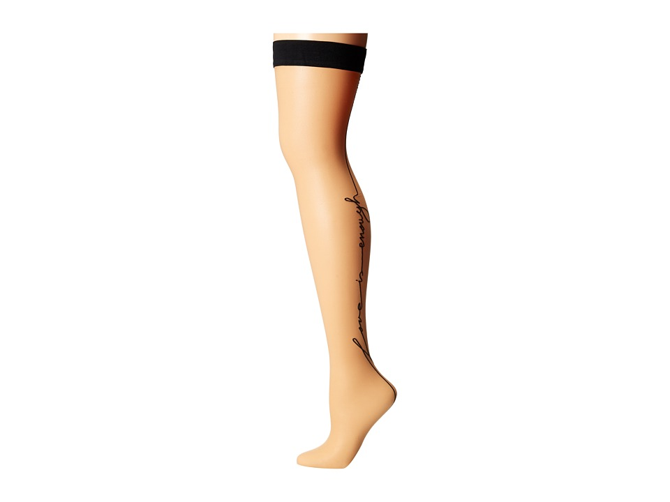 Wolford Love Stay Up Gobi/Black Womens Clothing