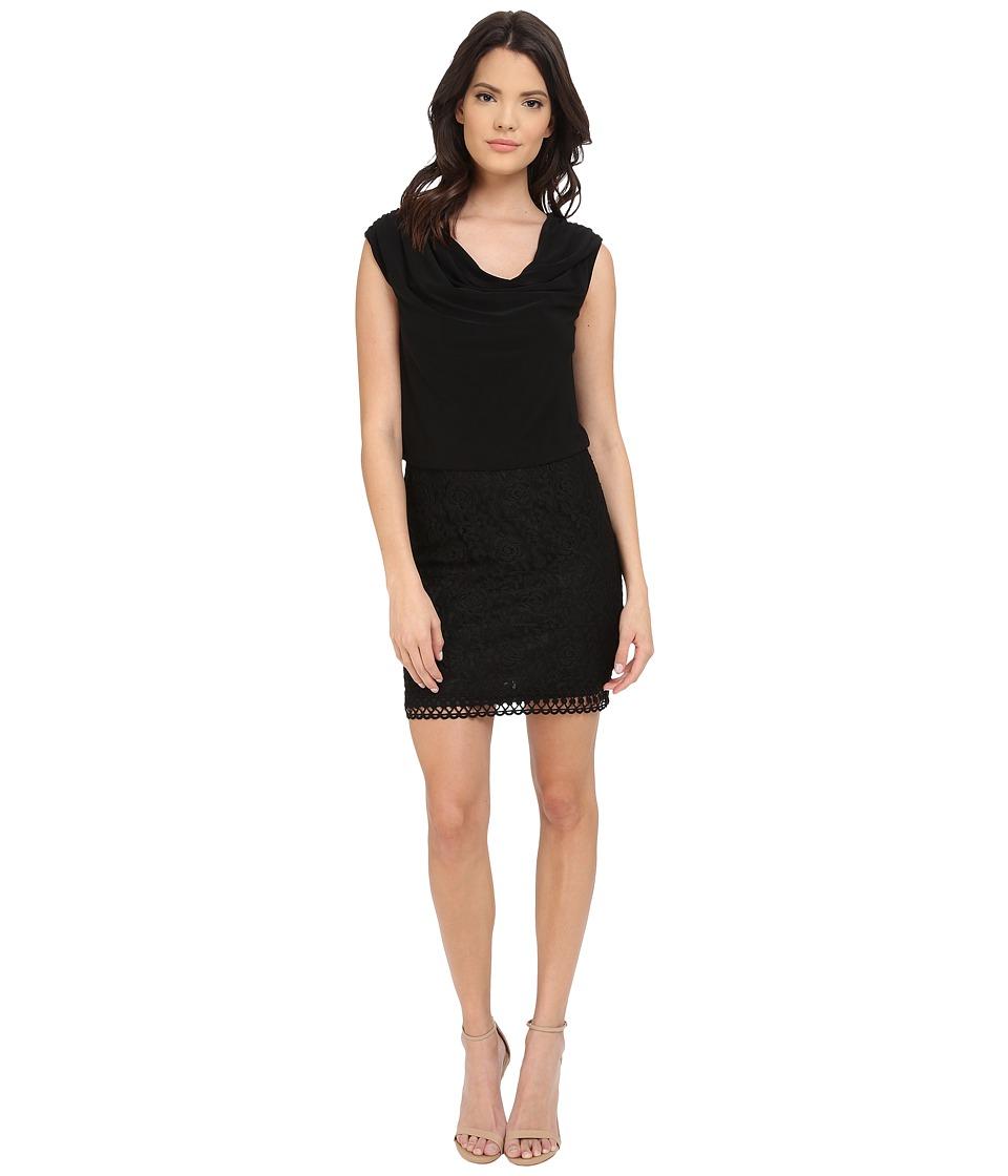 Laundry by Shelli Segal Lace and Matte Jersey Sleeveless Blouson Black Womens Dress