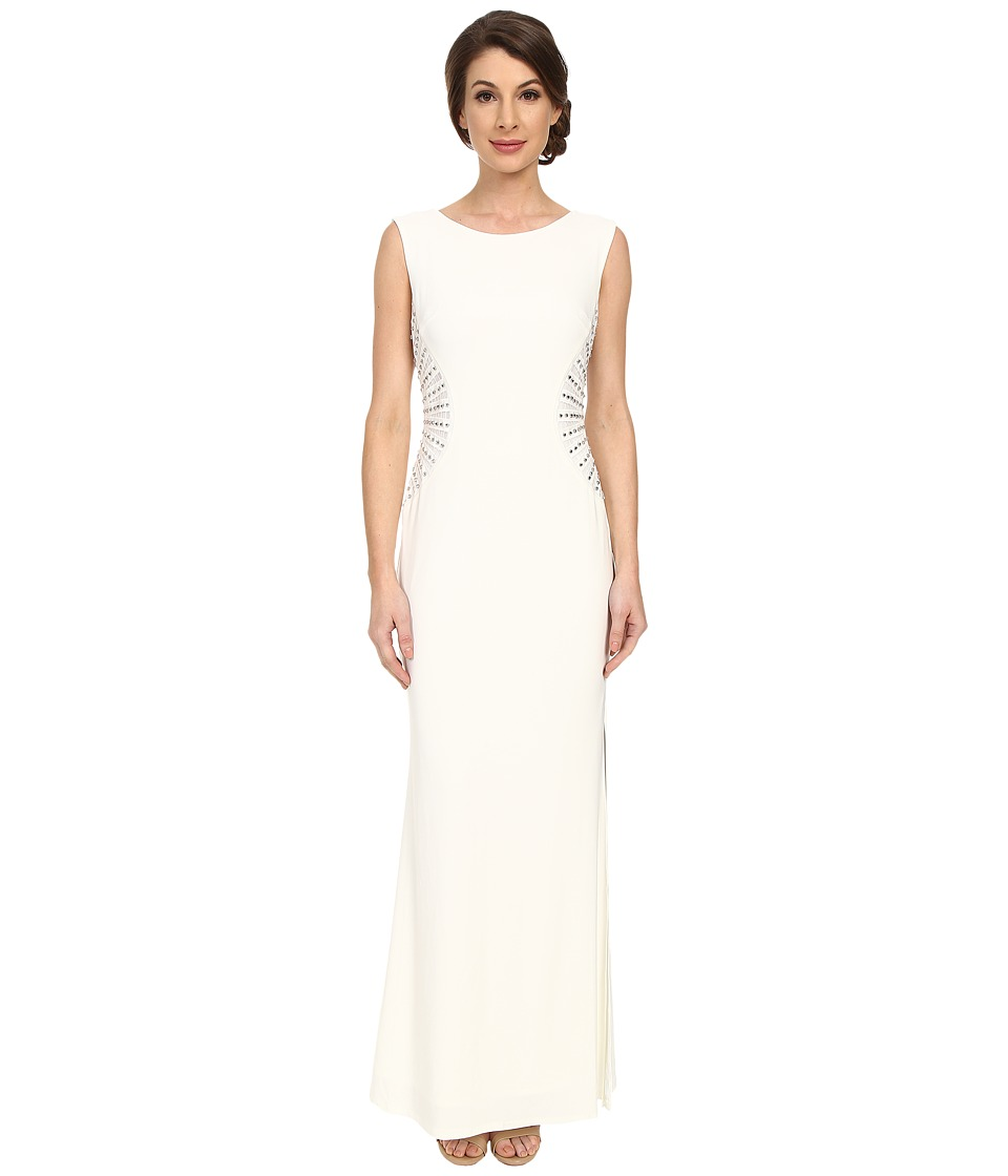Laundry by Shelli Segal Embellished Side Jersey Gown Pearl Womens Dress