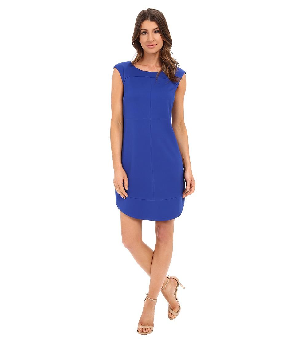 Laundry by Shelli Segal Cap Sleeve Sheath Dress with Seaming Jubilee Blue Womens Dress